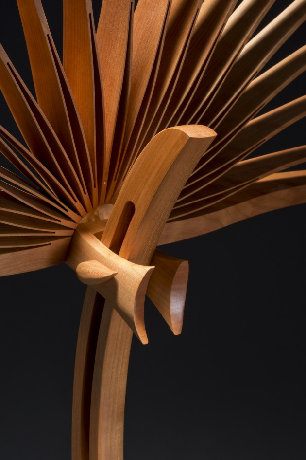 showing the height adjustment for the top of this custom cherry wood music stand made by Seth Rolland