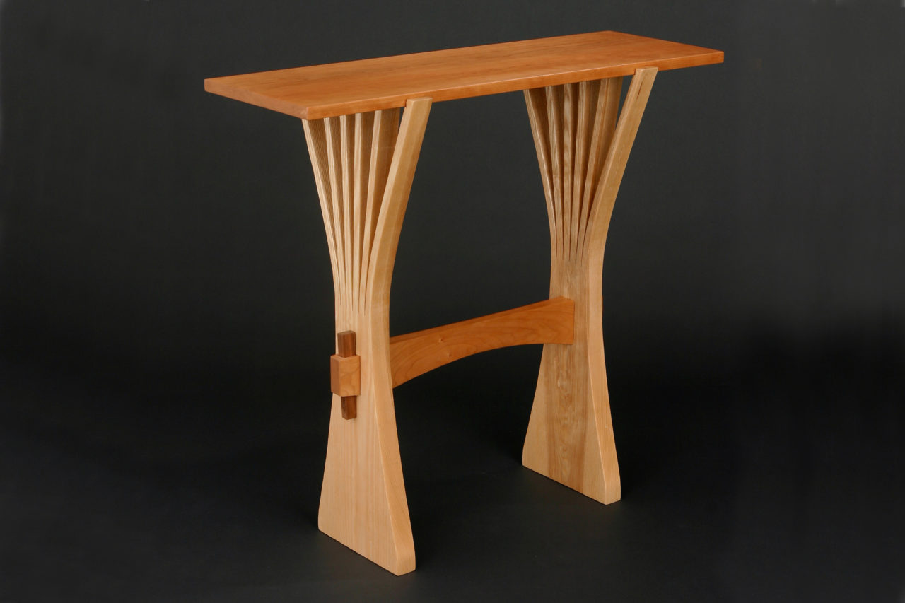wood console table by Seth Rolland Custom Furniture