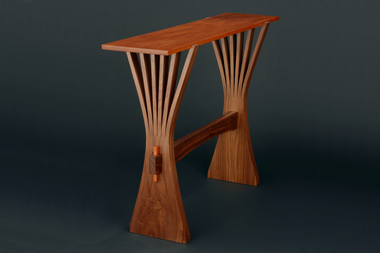 Abanico Hall table in Walnut and Mahogany by Seth Rolland Custom Furniture