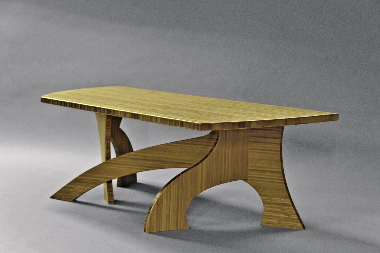 Curved organic bamboo coffee table made by Seth Rolland Custom Furniture, Port Townsend, WA