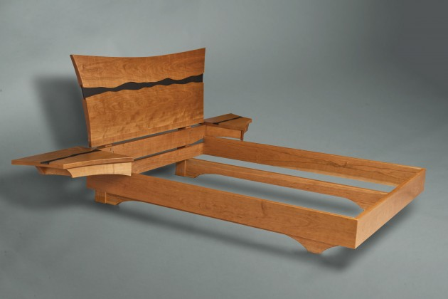 Solid wood bed and nightstands made from cherry and slate by Seth Rolland custom furniture, port townsend, wa