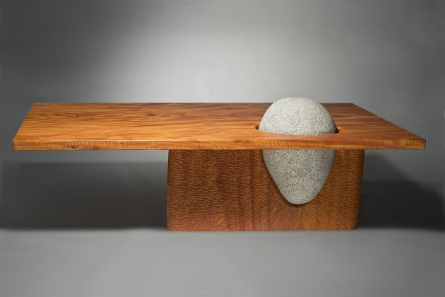 Eddy Coffee Table Made From Carved Mahogany Wood And Stone By Seth Rolland Custom Furniture Design