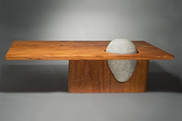 Eddy coffee table made from carved mahogany wood and stone by Seth Rolland Custom Furniture Design art furniture
