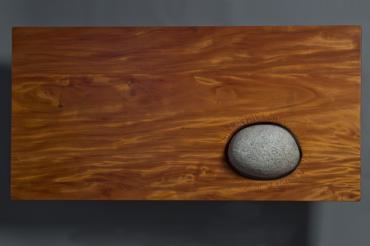 Top view of Eddy coffee table hand carved by Seth Rolland custom furniture reflecting japanese rock garden design