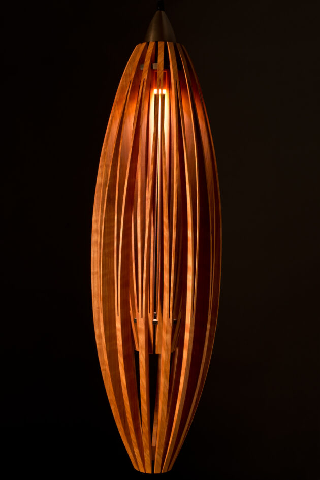 Tulip pendant lamp solid cherry wood retro modern style by Seth Rolland Custom Furniture