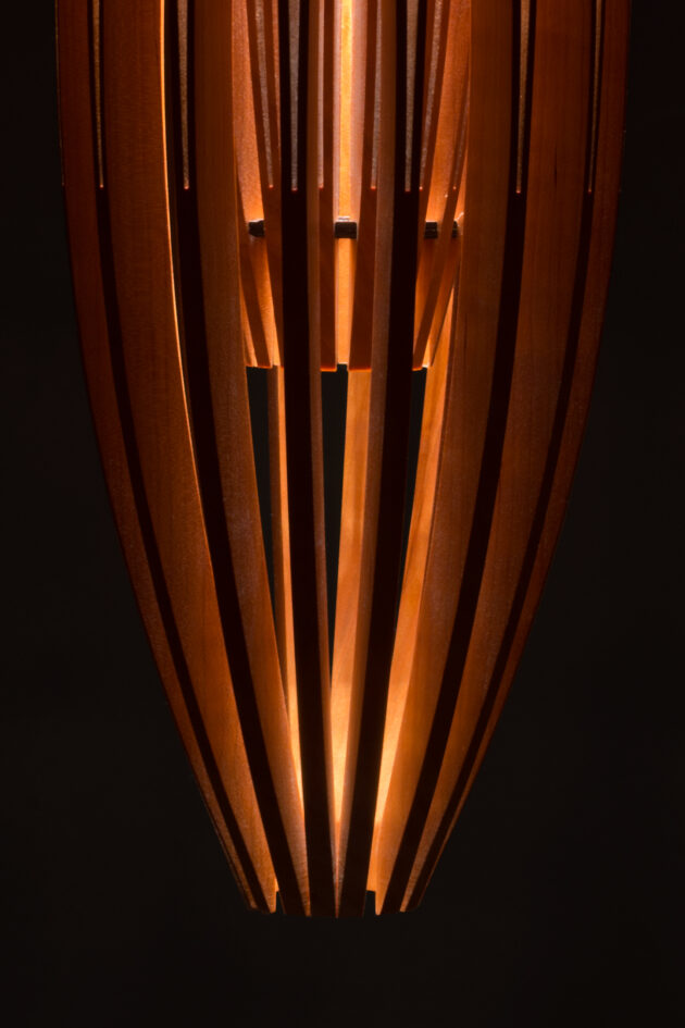 Tulip cherry wood contemporary hanging pendant lamp