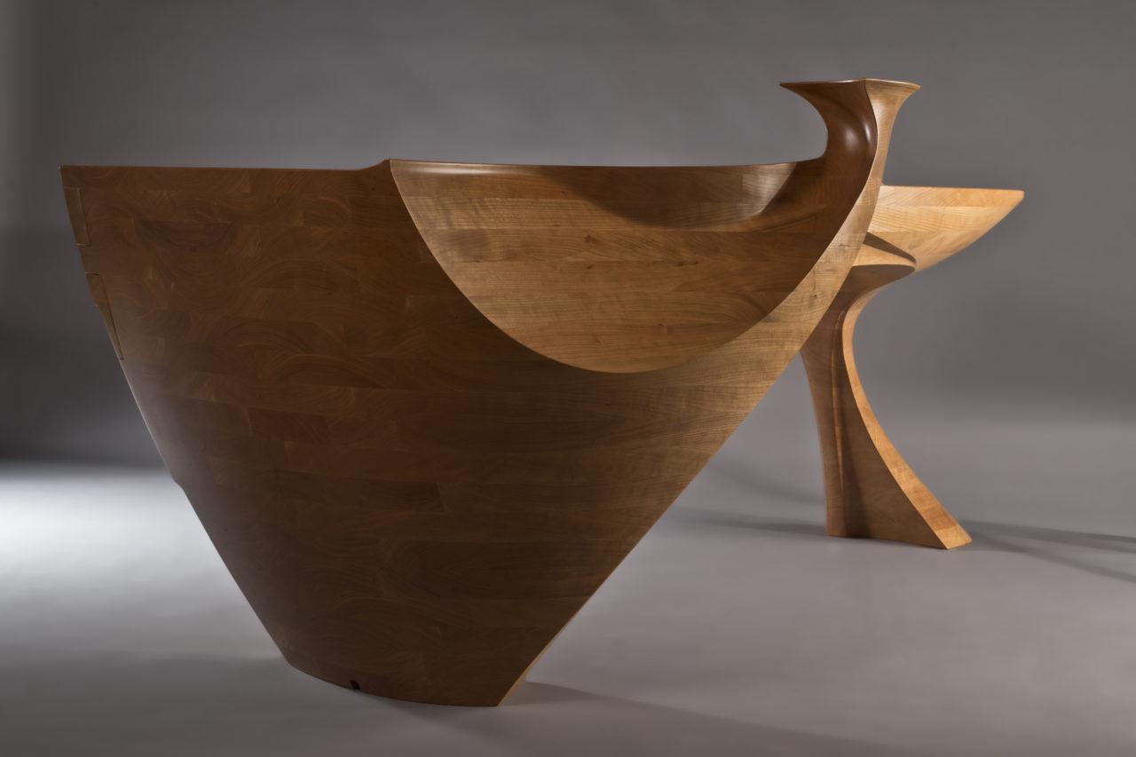 Sculptural desk drawer end view