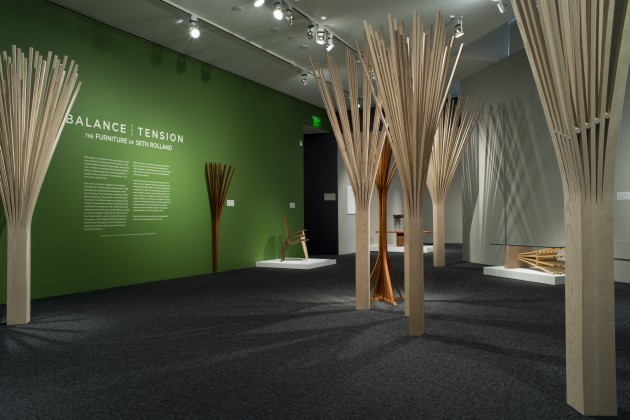 Entry and title in first room of Balance and Tension: The furniture of Seth Rolland at the Bellevue Arts Museum summer 2016, custom furniture and wood sculpture