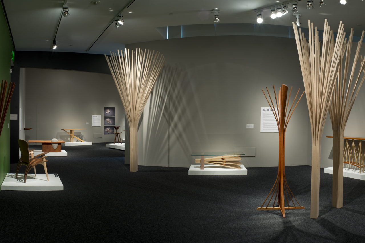 Balance and Tension: The Furniture of Seth Rolland installation image at Bellevue Arts Museum showing custom wood furniture and sculpture hand crafted in the Pacific Northwest
