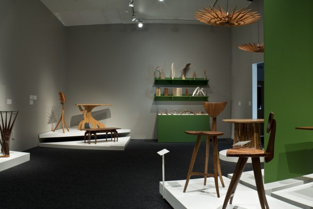 Balance and Tension: The Furniture of Seth Rolland, solo show at the Bellevue Arts Museum shoing custom furniture, art furniture, wood sculpture and objects